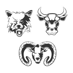 Vector elements for sport team labels with wolf, bulls and ram