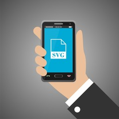 Hand holding smartphone with svg icon