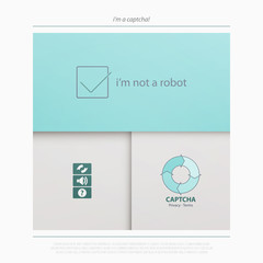Captcha is a Completely Automated Public Turing test to tell Computers and Humans Apart. vector technology icons. internet security concept material design banner. web login button