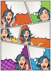 Comic book page with retro woman talking. Comic strip background with speech bubbles. Vintage art.