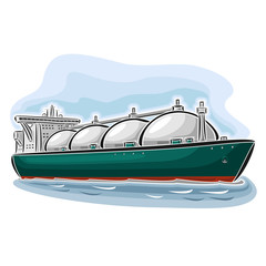 Vector illustration of logo for LNG liquefied natural gas carrier ship, consisting of  cryogenic super tanker, vessel with nautical storage tank for propane methane gas close-up on blue background