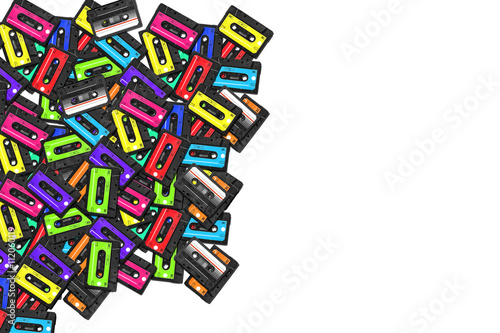 large collection of retro cassette tapes  Old audio cassette