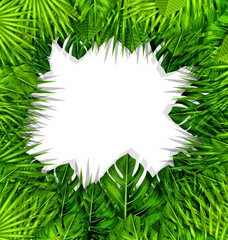 Summer Fresh Background with Green Tropical Leaves