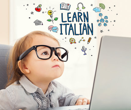 Learn Italian concept with toddler girl