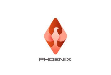 Phoenix Bird abstract rhombus Logo design vector Dove Falcon