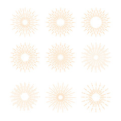 Hand Drawn vector vintage elements - gold sunburst (bursting) ra