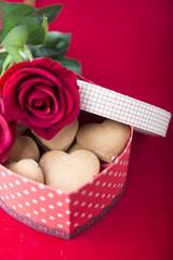 sweet cookies in heart shape box