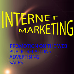 Internet marketing on the coloring deep sea gradients background with visual lens flare and twirl effects