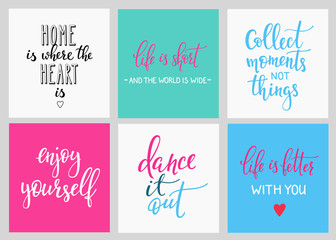 Lettering vector postcard quotes set
