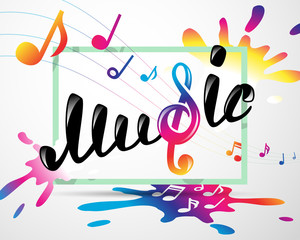 Colorful music logo in frame