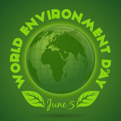 World Environment Day card. June 5. nvironment Day poster with earth globe symbol, foliage and greeting inscription on a green background. Vector illustration