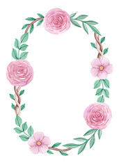 Watercolor floral wreath. Perfect for greeting cards