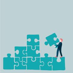 Businessman puzzle in blue tone
