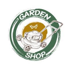 garden logo design. illustration of garden. garden shop sign.
