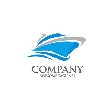 vector yacht, speed boat , ship logo concept