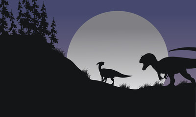 Silhouette of Parasaurolophus and Allosaurus