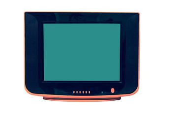 Vintage orange Television  isolated on white background