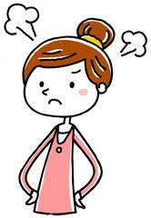イラスト素材:若い女性 怒る