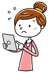 イラスト素材:若い女性 タブレット 操作 難しい