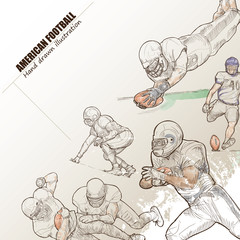 Illustration of American football. hand drawn. American football poster. Sport background.