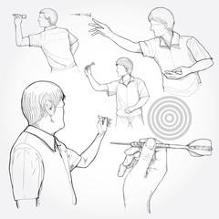 hand drawn illustration of dart
