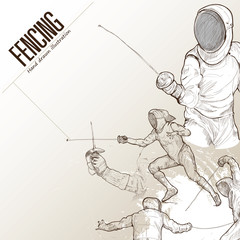 Illustration of fencing. hand drawn. fencing poster. Sport background.