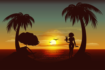Evening sunset on tropical island. Sea, palm trees, silhouette of girl with drink