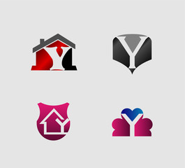 Letter Y logo icon design template elements set, collection