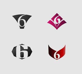 Number six 6 logo icon set