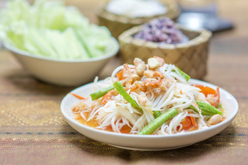 "papaya salad or what we called in Thai  ""Som Tum Thai""  the popular Thai style local the eastern delicious food of Thailand."