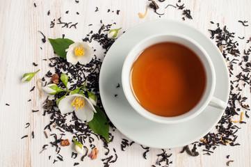Jasmine tea with jasmine herb flower and dry tea