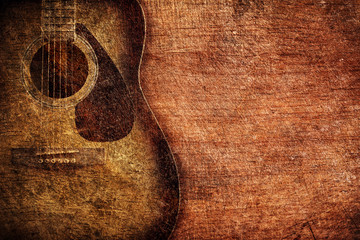 Guitar on wooden background vintage