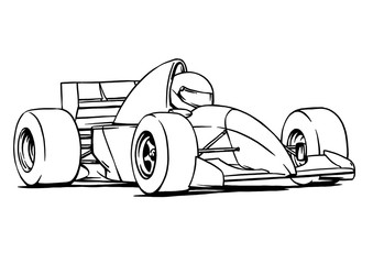child's funny cartoon formula race car illustration art