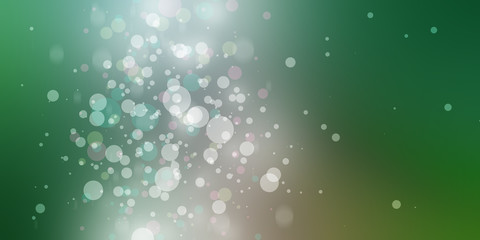 shiny green background with silver and white bokeh lights or circles in elegant design