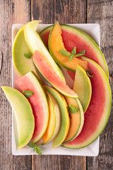 watermelon and melon slices