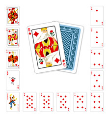 Playing cards diamond Queen