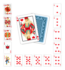 Playing cards heart Queen