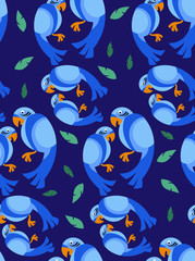 tropical parrot seamless pattern vector illustration