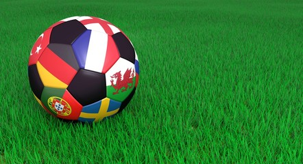 Soccer ball on green grass with segments depicting european national teams