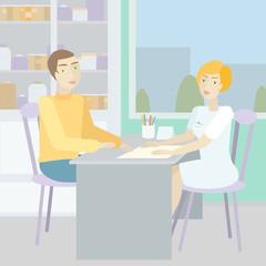Woman doctor advises a patient