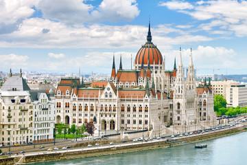 Printed kitchen splashbacks Budapest Hungarian Parliament at daytime. Budapest. View from Danube rive