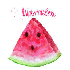 Watercolor slice of ripe watermelon