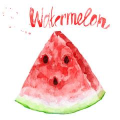 Watercolor illustration of watermelon slice