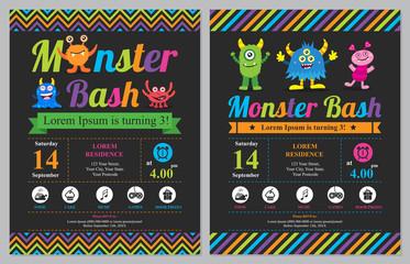 Cute Monster Birthday Invitation Card
