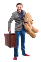 Man with stuffed animal