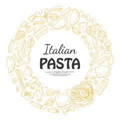 Vector round frame of Italian pasta