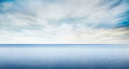 Beautiful sea level with fantasy blue sky for composite backgrounds