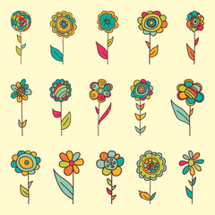 Set of retro style flowers in bright colors.