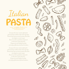 Vertical seamless pattern with Italian pasta