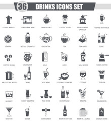 Vector Drinks black icon set. Dark grey classic icon design for web.